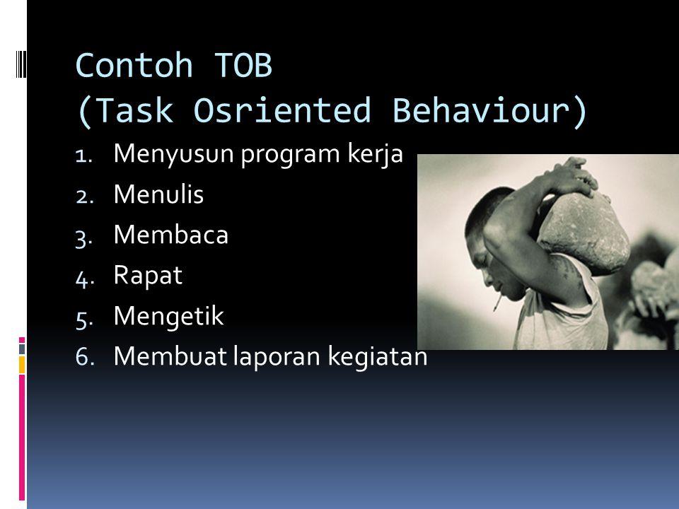 KECENDRUNGAN MEMBINA SUATU LEMBAGA/ORGANISASI 1. TOB (Task Oriented Behaviour) Kecendrungan untuk selalu memberikan Tugas 2. SOB (Social Oriented Beha