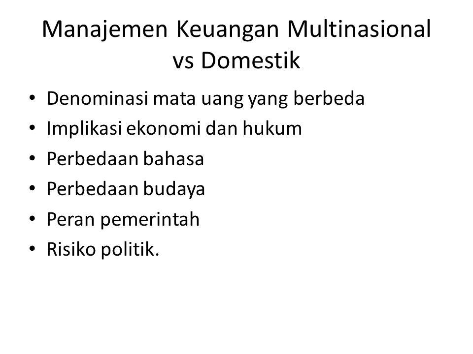 Manajemen Keuangan Multinasional vs Domestik Denominasi mata uang yang berbeda Implikasi ekonomi dan hukum Perbedaan bahasa Perbedaan budaya Peran pem