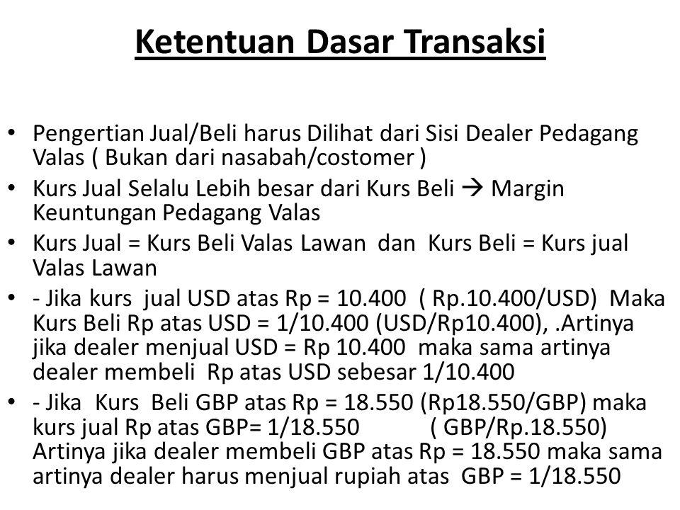 Ketentuan Dasar Transaksi Pengertian Jual/Beli harus Dilihat dari Sisi Dealer Pedagang Valas ( Bukan dari nasabah/costomer ) Kurs Jual Selalu Lebih be