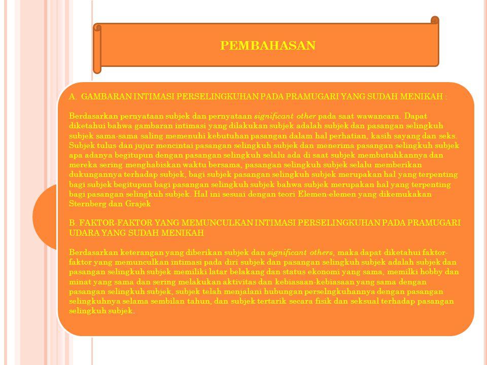 11 PEMBAHASAN A.GAMBARAN INTIMASI PERSELINGKUHAN PADA PRAMUGARI YANG SUDAH MENIKAH : Berdasarkan pernyataan subjek dan pernyataan significant other pa