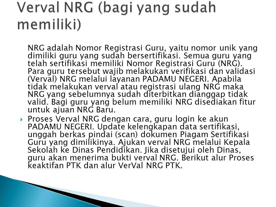 NRG adalah Nomor Registrasi Guru, yaitu nomor unik yang dimiliki guru yang sudah bersertifikasi. Semua guru yang telah sertifikasi memiliki Nomor Regi
