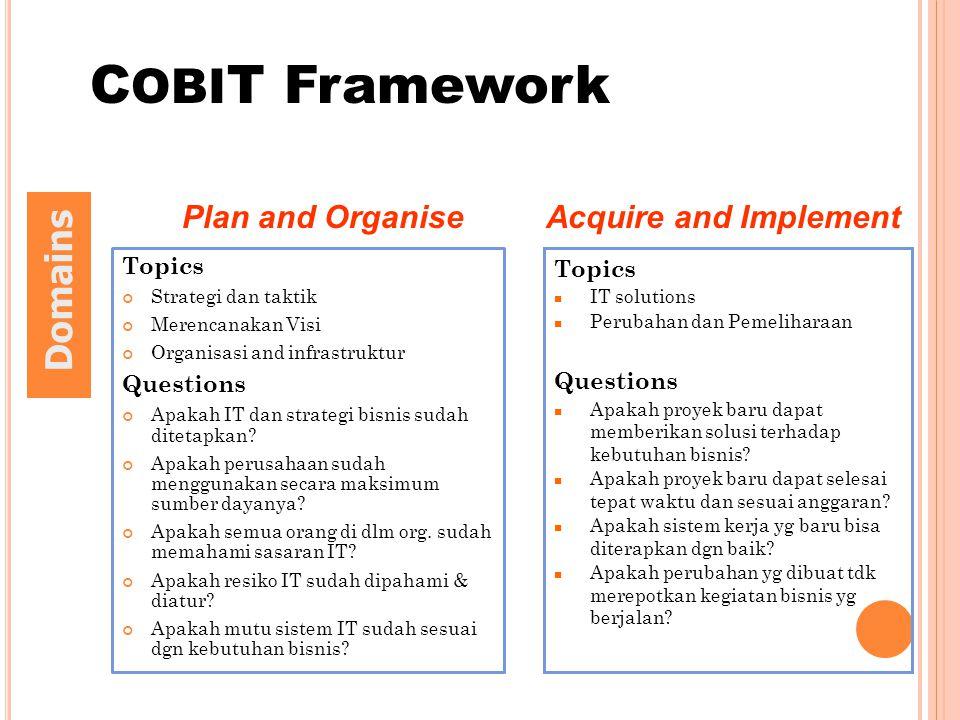 Topics Strategi dan taktik Merencanakan Visi Organisasi and infrastruktur Questions Apakah IT dan strategi bisnis sudah ditetapkan? Apakah perusahaan