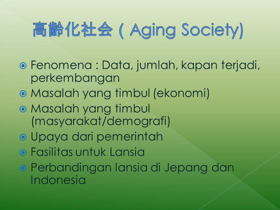  Fenomena : Data, jumlah, kapan terjadi, perkembangan  Masalah yang timbul (ekonomi)  Masalah yang timbul (masyarakat/demografi)  Upaya dari pemerintah  Fasilitas untuk Lansia  Perbandingan lansia di Jepang dan Indonesia