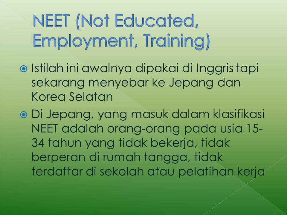  Istilah ini awalnya dipakai di Inggris tapi sekarang menyebar ke Jepang dan Korea Selatan  Di Jepang, yang masuk dalam klasifikasi NEET adalah orang-orang pada usia 15- 34 tahun yang tidak bekerja, tidak berperan di rumah tangga, tidak terdaftar di sekolah atau pelatihan kerja