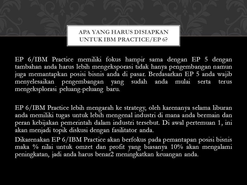 EP 6/IBM Practice memiliki fokus hampir sama dengan EP 5 dengan tambahan anda harus lebih mengeksporasi tidak hanya pengembangan namun juga memantapka