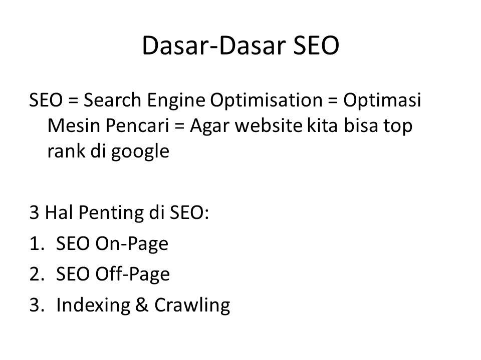 Dasar-Dasar SEO SEO = Search Engine Optimisation = Optimasi Mesin Pencari = Agar website kita bisa top rank di google 3 Hal Penting di SEO: 1.SEO On-Page 2.SEO Off-Page 3.Indexing & Crawling