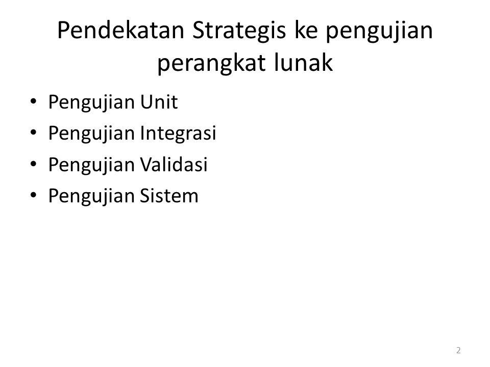 Pendekatan Strategis ke pengujian perangkat lunak Pengujian Unit Pengujian Integrasi Pengujian Validasi Pengujian Sistem 2