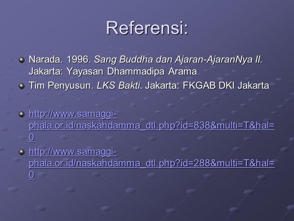 Referensi: Narada. 1996. Sang Buddha dan Ajaran-AjaranNya II. Jakarta: Yayasan Dhammadipa Arama Tim Penyusun. LKS Bakti. Jakarta: FKGAB DKI Jakarta ht