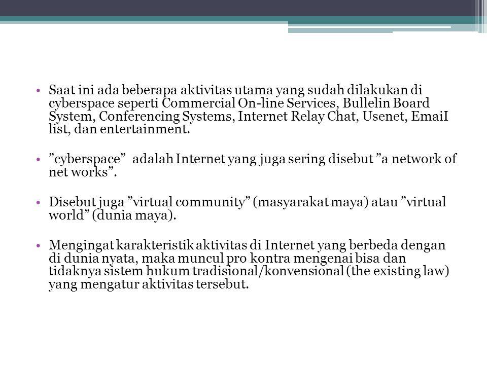 Saat ini ada beberapa aktivitas utama yang sudah dilakukan di cyberspace seperti Commercial On-line Services, Bullelin Board System, Conferencing Syst