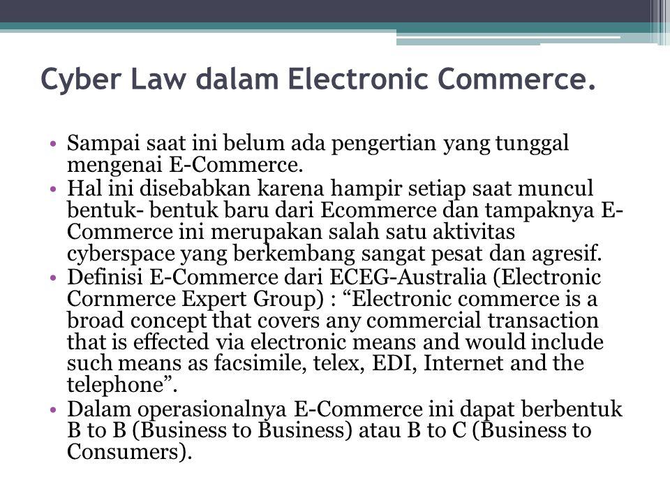 Cyber Law dalam Electronic Commerce. Sampai saat ini belum ada pengertian yang tunggal mengenai E-Commerce. Hal ini disebabkan karena hampir setiap sa