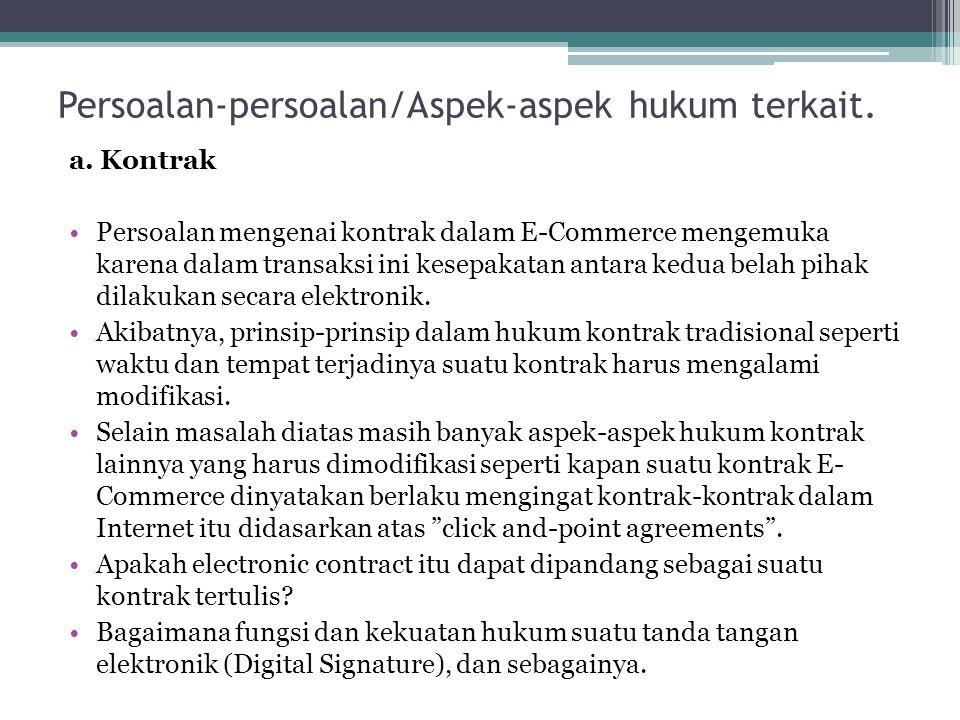 Persoalan-persoalan/Aspek-aspek hukum terkait. a. Kontrak Persoalan mengenai kontrak dalam E-Commerce mengemuka karena dalam transaksi ini kesepakatan