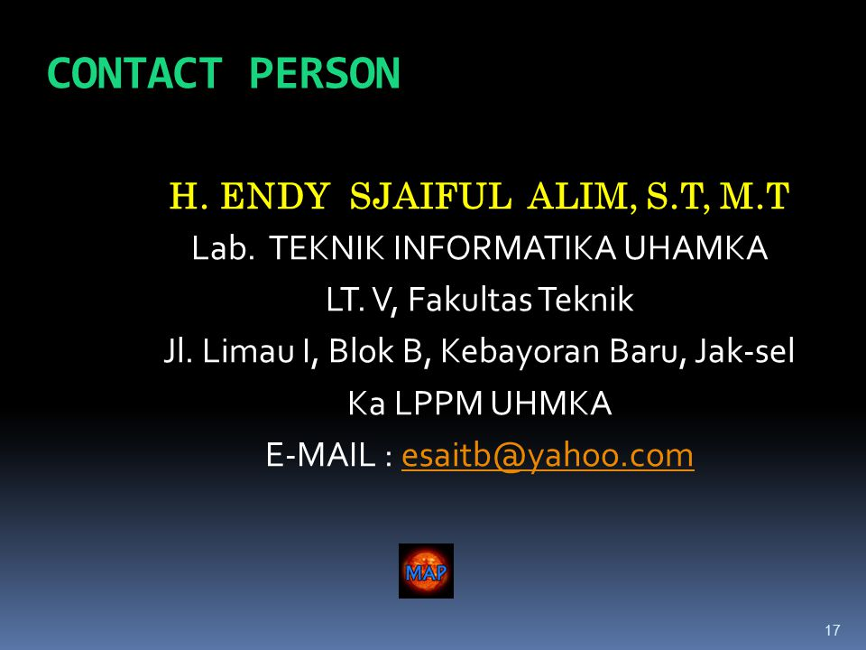 17 CONTACT PERSON H. ENDY SJAIFUL ALIM, S.T, M.T Lab.