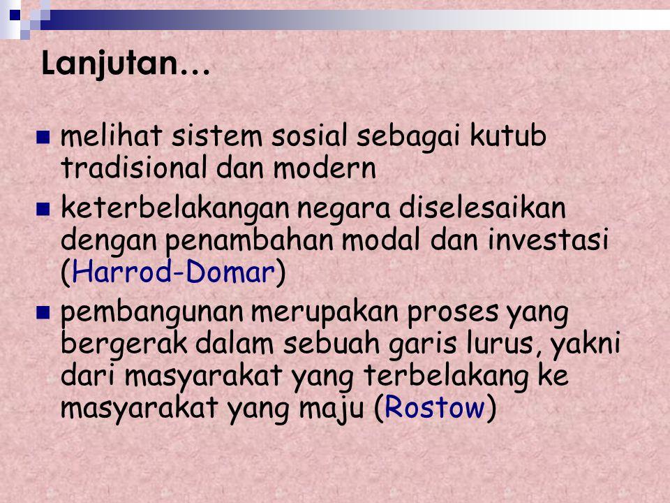 Teori Modernisasi Keterbelakangan negara pertanian disebabkan karena faktor intern negara yang bersangkutan modernisasi