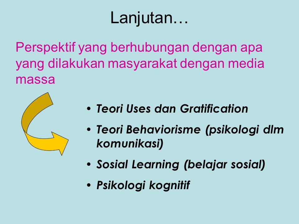 Teori Komunikasi Massa Perspektif yang berhubungan dengan apa yang dilakukan media massa untuk masyarakat Penanaman (cultivation) Teori Agenda Setting