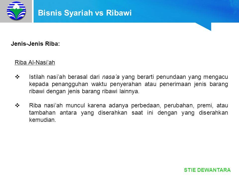 STIE DEWANTARA Bisnis Syariah vs Ribawi Jenis-Jenis Riba: Riba Al-Nasi'ah  Istilah nasi'ah berasal dari nasa'a yang berarti penundaan yang mengacu ke