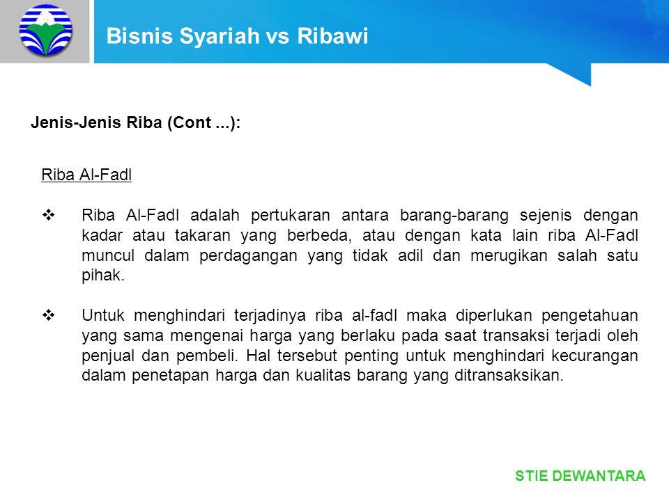 STIE DEWANTARA Bisnis Syariah vs Ribawi Jenis-Jenis Riba (Cont...): Riba Al-Fadl  Riba Al-Fadl adalah pertukaran antara barang-barang sejenis dengan