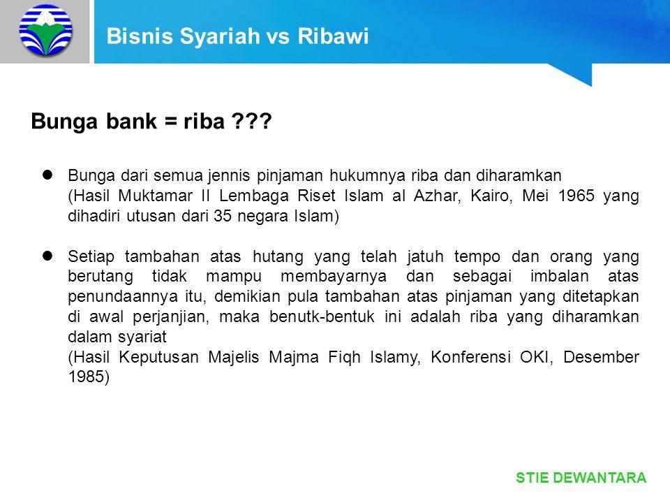 STIE DEWANTARA Bisnis Syariah vs Ribawi Bunga bank = riba ??? Bunga dari semua jennis pinjaman hukumnya riba dan diharamkan (Hasil Muktamar II Lembaga