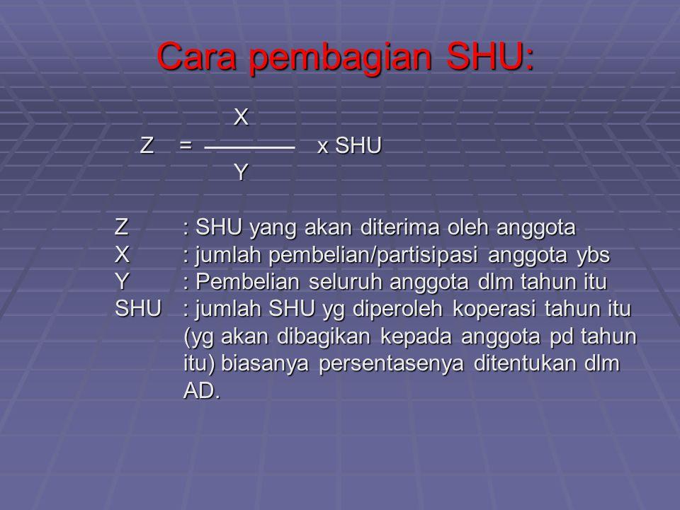 Cara pembagian SHU: X Z = x SHU Y Z: SHU yang akan diterima oleh anggota X : jumlah pembelian/partisipasi anggota ybs Y: Pembelian seluruh anggota dlm tahun itu SHU: jumlah SHU yg diperoleh koperasi tahun itu (yg akan dibagikan kepada anggota pd tahun (yg akan dibagikan kepada anggota pd tahun itu) biasanya persentasenya ditentukan dlm itu) biasanya persentasenya ditentukan dlm AD.