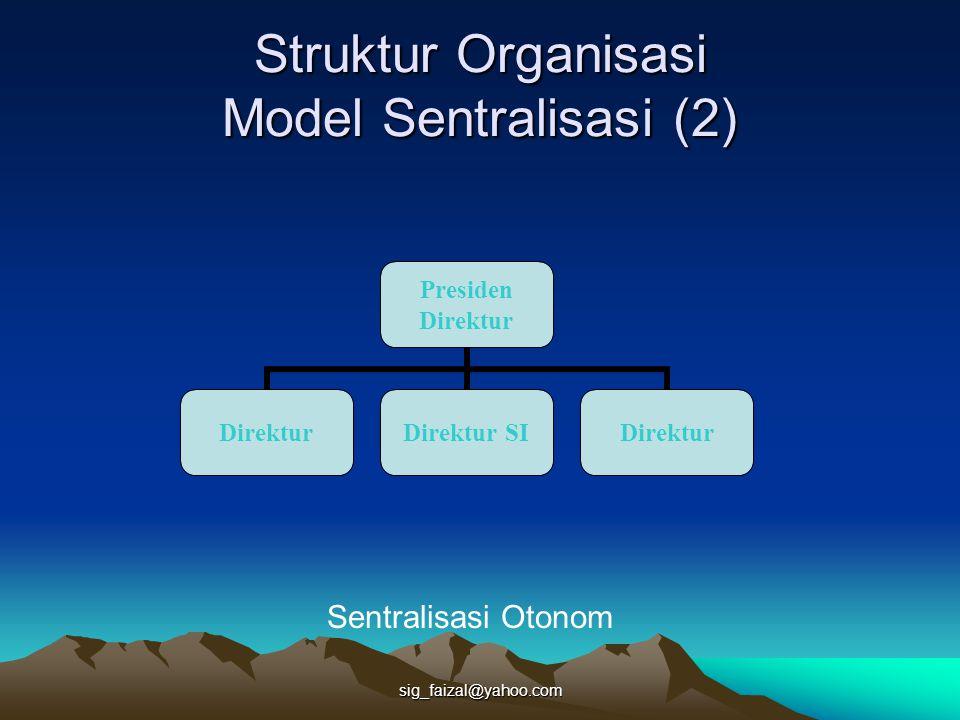 sig_faizal@yahoo.com Struktur Organisasi Model Sentralisasi (2) Presiden Direktur Direktur Direktur SI Direktur Sentralisasi Otonom
