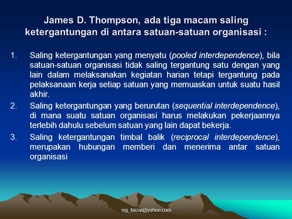 sig_faizal@yahoo.com James D. Thompson, ada tiga macam saling ketergantungan di antara satuan-satuan organisasi : 1.Saling ketergantungan yang menyatu