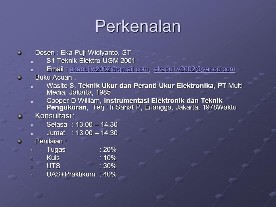 Perkenalan Dosen : Eka Puji Widiyanto, ST S1 Teknik Elektro UGM 2001 S1 Teknik Elektro UGM 2001 Email : ekapujiw2002@gmail.com, ekapujiw2002@yahoo.com