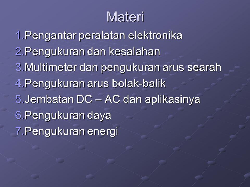 Materi 1.Pengantar peralatan elektronika 2.Pengukuran dan kesalahan 3.Multimeter dan pengukuran arus searah 4.Pengukuran arus bolak-balik 5.Jembatan D