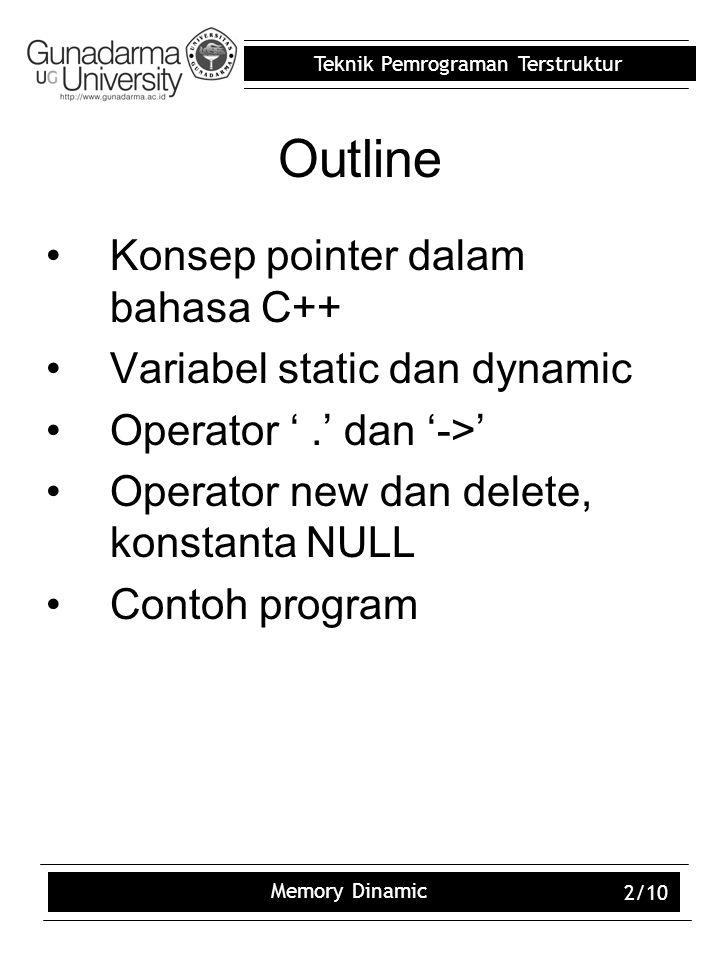 Teknik Pemrograman Terstruktur Memory Dinamic 2/10 Outline Konsep pointer dalam bahasa C++ Variabel static dan dynamic Operator '.' dan '->' Operator