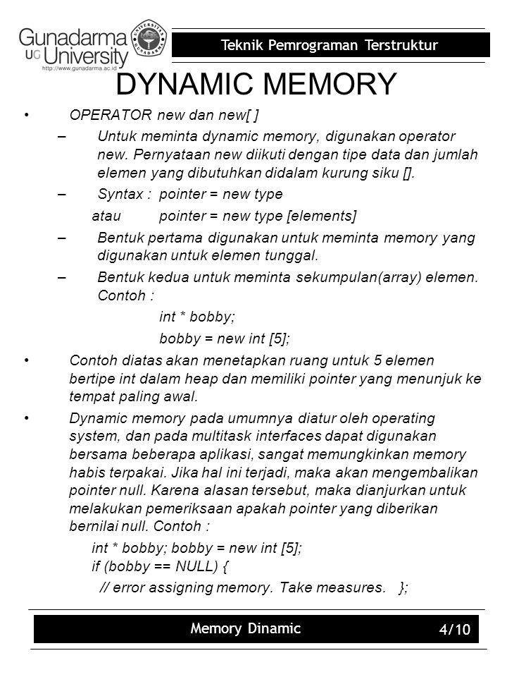 Teknik Pemrograman Terstruktur Memory Dinamic 5/10 OPERATOR DELETE –Ketika memory yang tadi diminta sudah tidak digunakan lagi maka, memory tersebut harus dibebaskan agar dapat digunakan untuk permintaan dynamic memory lainnya.