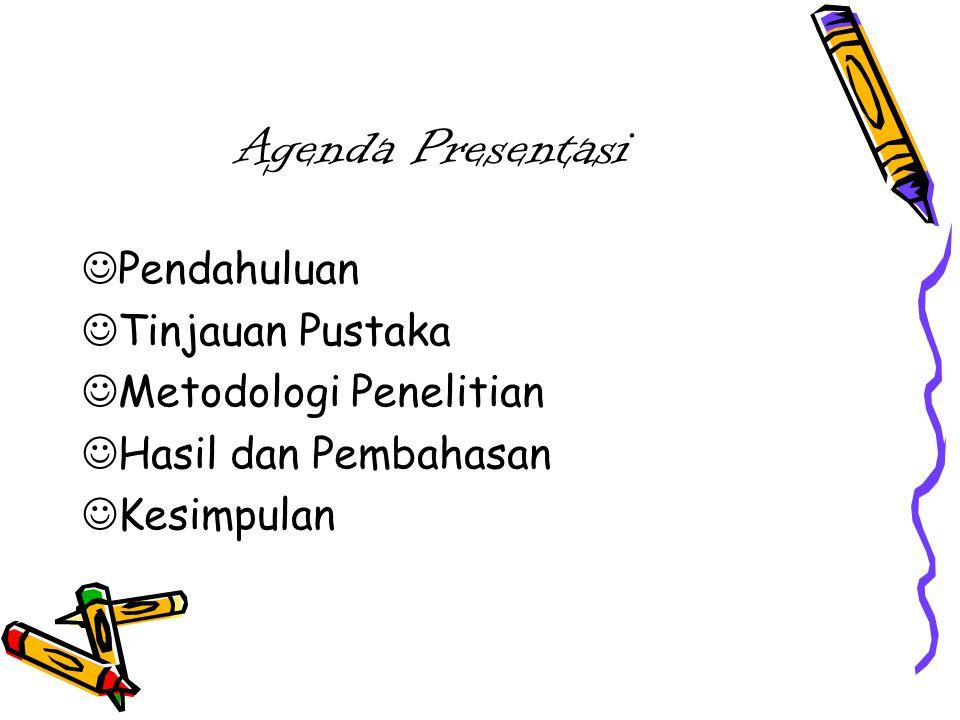 Agenda Presentasi Pendahuluan Tinjauan Pustaka Metodologi Penelitian Hasil dan Pembahasan Kesimpulan