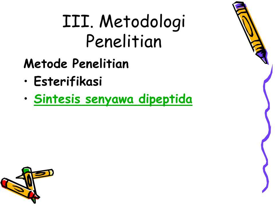 III. Metodologi Penelitian Metode Penelitian Esterifikasi Sintesis senyawa dipeptida