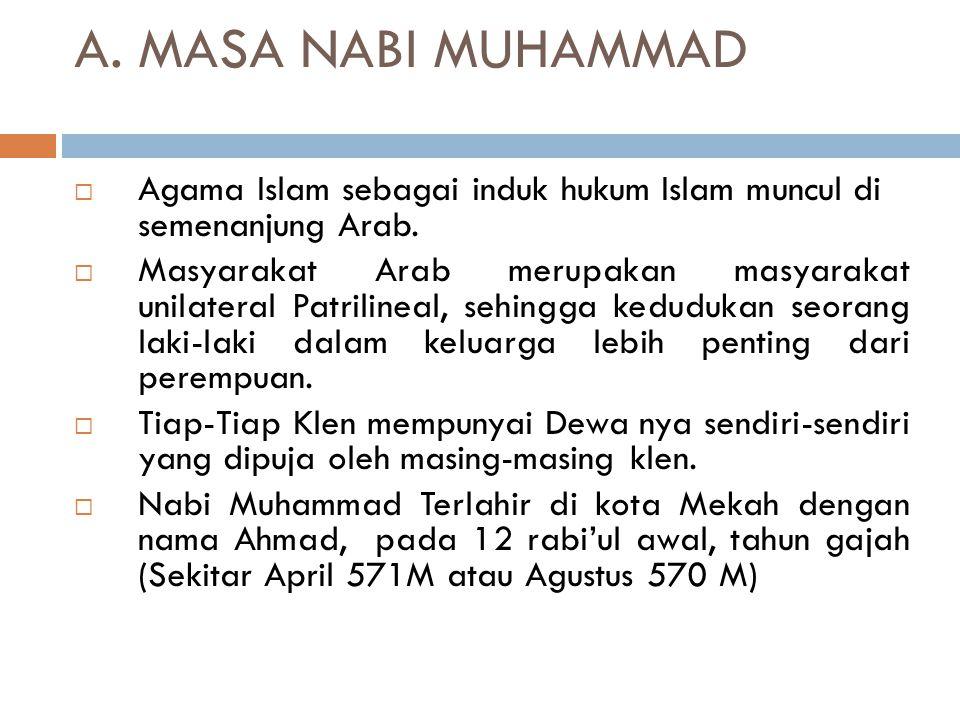A.MASA NABI MUHAMMAD  Agama Islam sebagai induk hukum Islam muncul di semenanjung Arab.
