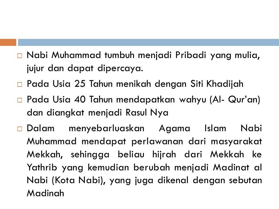  Nabi Muhammad tumbuh menjadi Pribadi yang mulia, jujur dan dapat dipercaya.