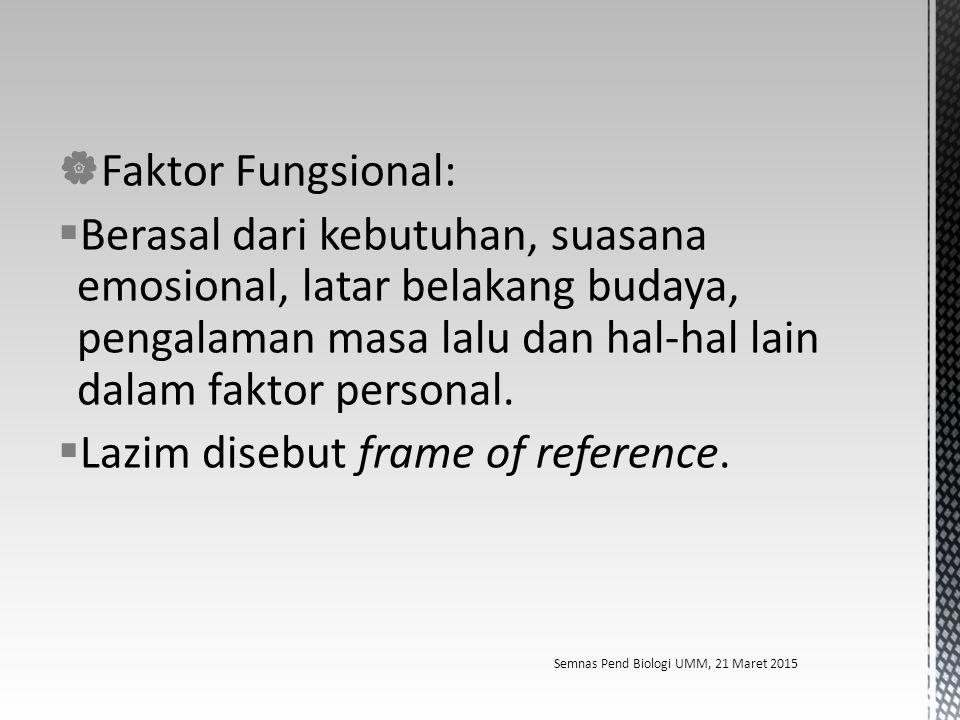  Faktor Fungsional:  Berasal dari kebutuhan, suasana emosional, latar belakang budaya, pengalaman masa lalu dan hal-hal lain dalam faktor personal.