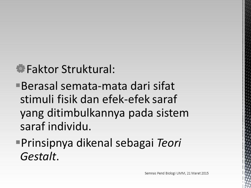  Faktor Struktural:  Berasal semata-mata dari sifat stimuli fisik dan efek-efek saraf yang ditimbulkannya pada sistem saraf individu.  Prinsipnya d