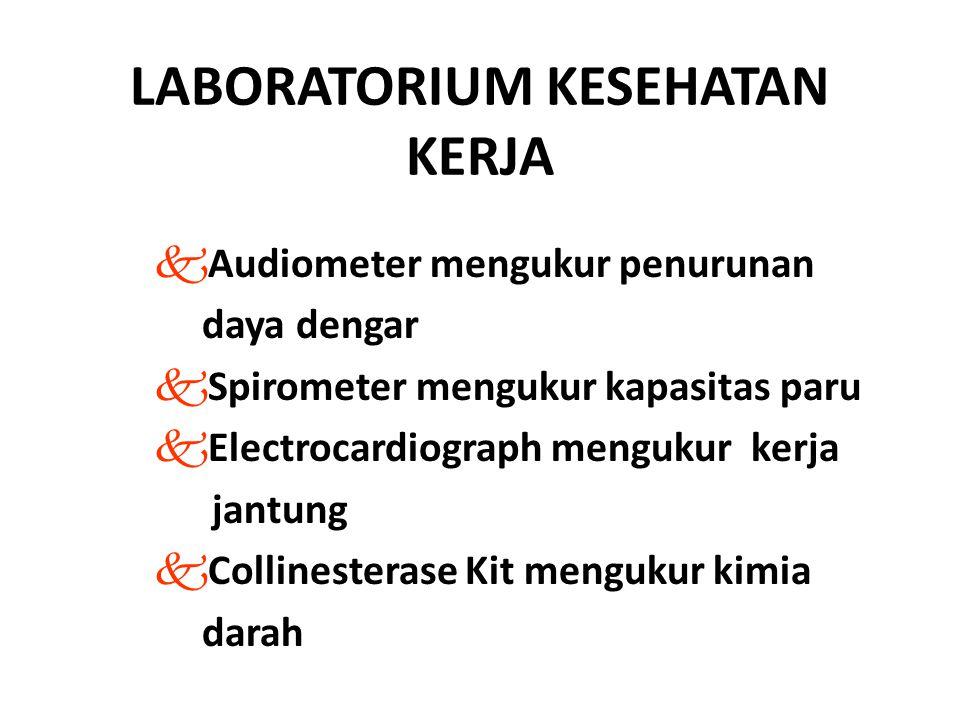 LABORATORIUM KESEHATAN KERJA kAudiometer mengukur penurunan daya dengar kSpirometer mengukur kapasitas paru kElectrocardiograph mengukur kerja jantung kCollinesterase Kit mengukur kimia darah