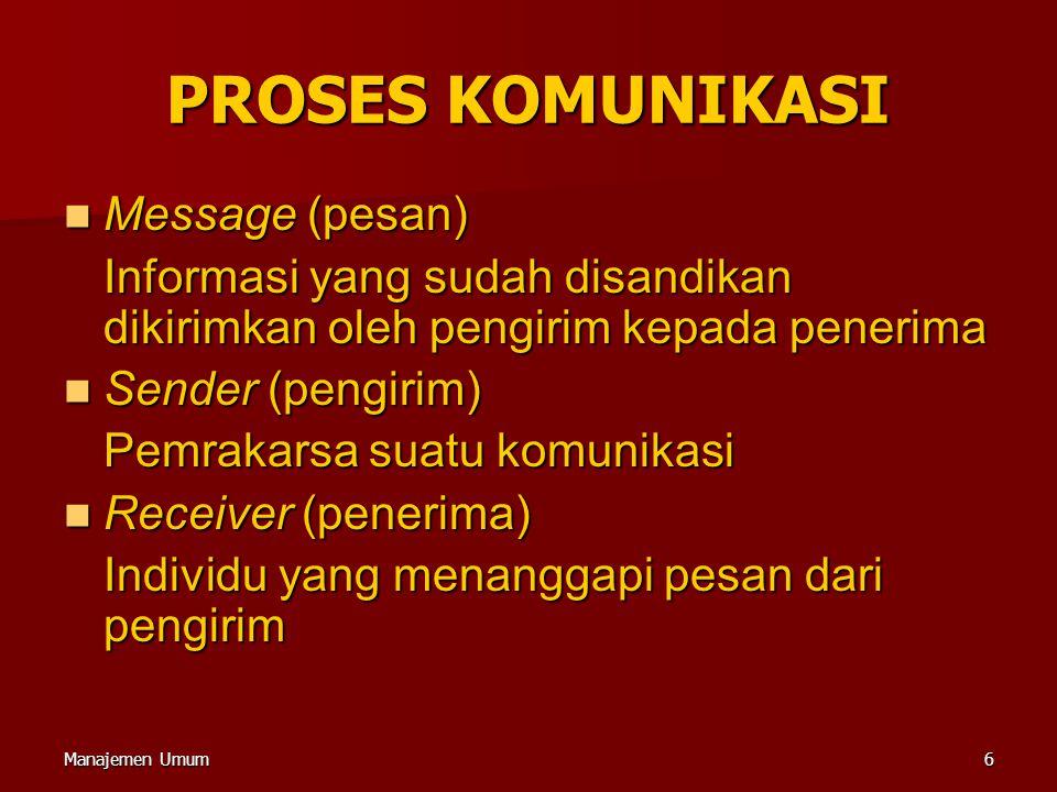 Manajemen Umum6 PROSES KOMUNIKASI Message (pesan) Message (pesan) Informasi yang sudah disandikan dikirimkan oleh pengirim kepada penerima Sender (pen