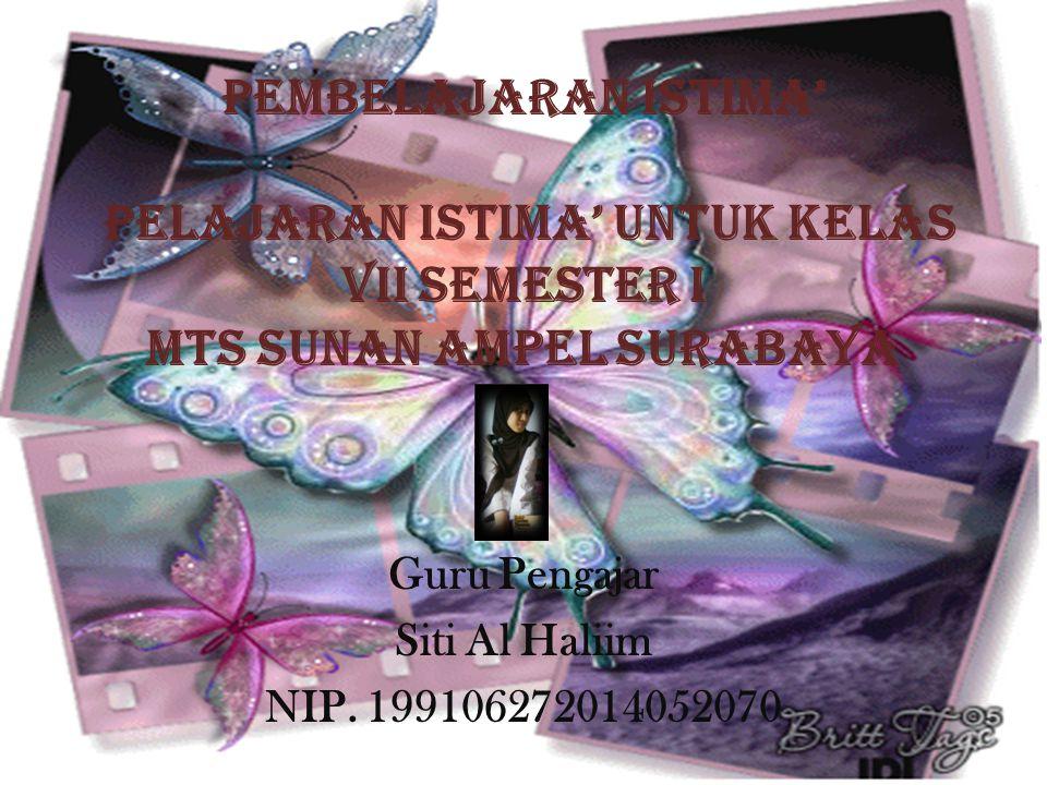 Pembelajaran Istima' PELAJARAN ISTIMA' UNTUK KELAS VII SEMESTER I MTS SUNAN AMPEL SURABAYA Guru Pengajar Siti Al Haliim NIP.