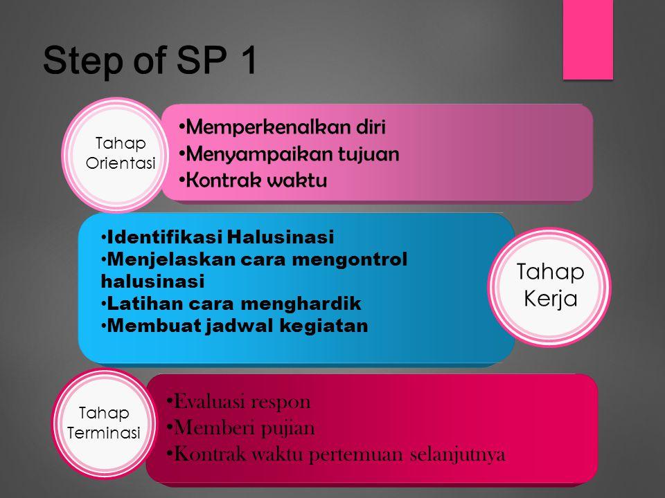 Step of SP 1 Memperkenalkan diri Menyampaikan tujuan Kontrak waktu Identifikasi Halusinasi Menjelaskan cara mengontrol halusinasi Latihan cara menghardik Membuat jadwal kegiatan Evaluasi respon Memberi pujian Kontrak waktu pertemuan selanjutnya Tahap Orientasi Tahap Kerja Tahap Terminasi