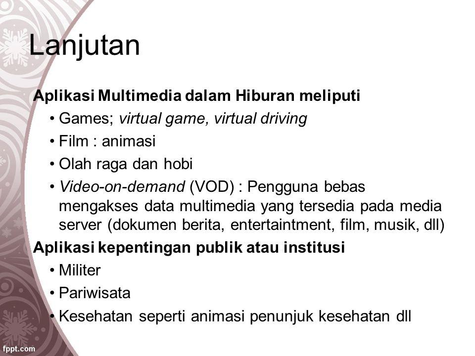 Lanjutan Aplikasi Multimedia dalam Hiburan meliputi Games; virtual game, virtual driving Film : animasi Olah raga dan hobi Video-on-demand (VOD) : Pen