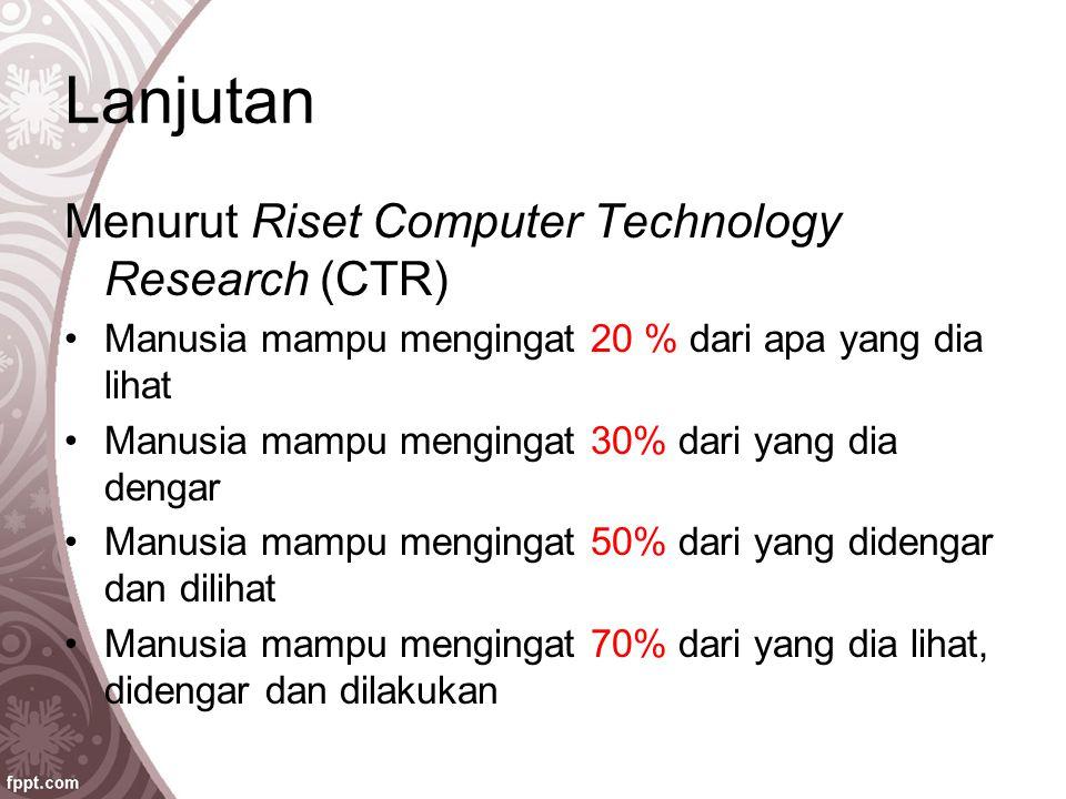 Lanjutan Menurut Riset Computer Technology Research (CTR) Manusia mampu mengingat 20 % dari apa yang dia lihat Manusia mampu mengingat 30% dari yang d