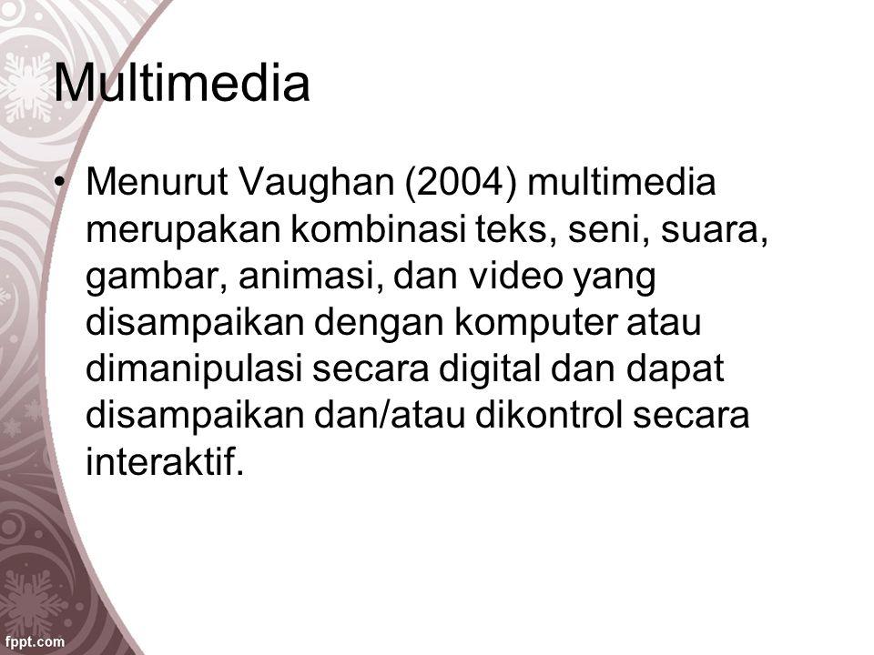Multimedia Menurut Vaughan (2004) multimedia merupakan kombinasi teks, seni, suara, gambar, animasi, dan video yang disampaikan dengan komputer atau d