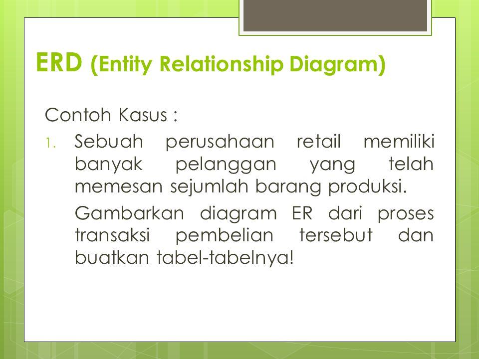 ERD (Entity Relationship Diagram) Contoh Kasus : 1. Sebuah perusahaan retail memiliki banyak pelanggan yang telah memesan sejumlah barang produksi. Ga
