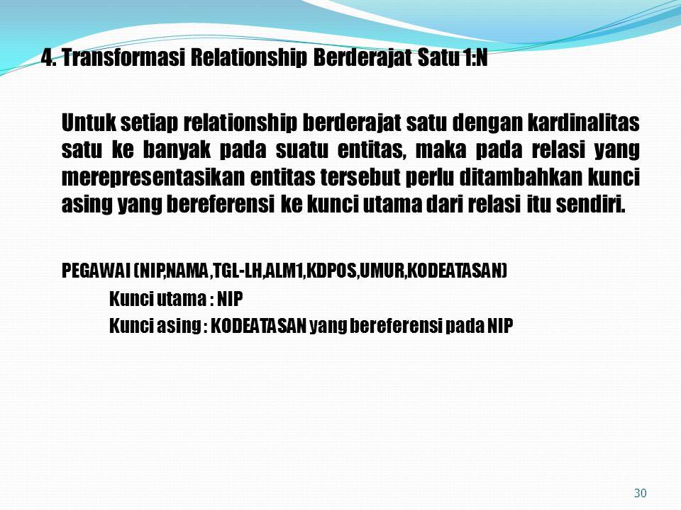 4.Transformasi Relationship Berderajat Satu 1:N Untuk setiap relationship berderajat satu dengan kardinalitas satu ke banyak pada suatu entitas, maka