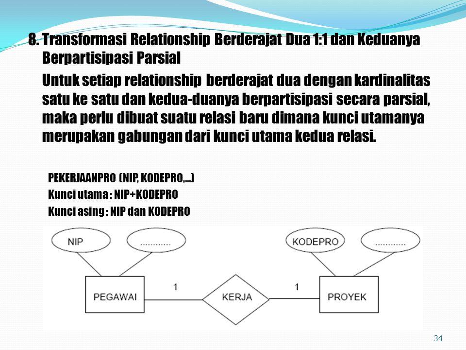 8.Transformasi Relationship Berderajat Dua 1:1 dan Keduanya Berpartisipasi Parsial Untuk setiap relationship berderajat dua dengan kardinalitas satu k