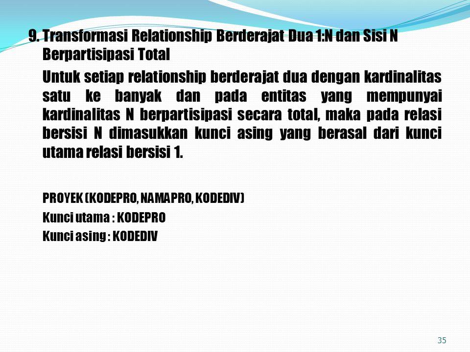 9.Transformasi Relationship Berderajat Dua 1:N dan Sisi N Berpartisipasi Total Untuk setiap relationship berderajat dua dengan kardinalitas satu ke ba