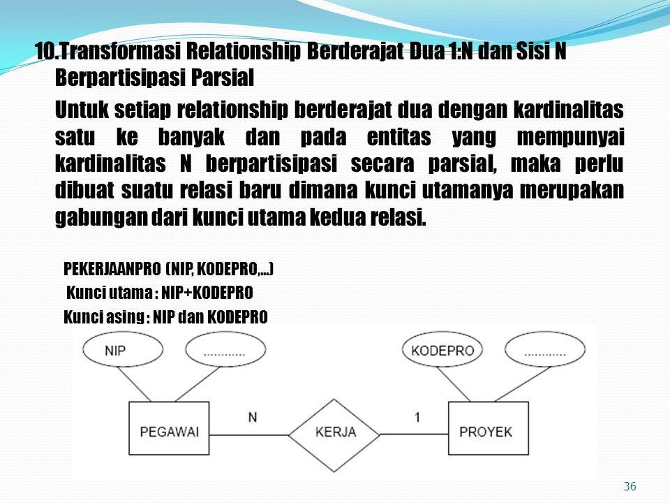 10.Transformasi Relationship Berderajat Dua 1:N dan Sisi N Berpartisipasi Parsial Untuk setiap relationship berderajat dua dengan kardinalitas satu ke