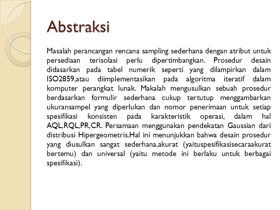 Abstraksi Masalah perancangan rencana sampling sederhana dengan atribut untuk persediaan terisolasi perlu dipertimbangkan.