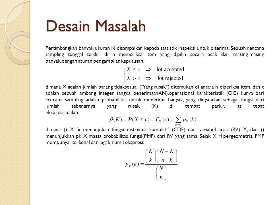 Desain Masalah Pertimbangkan banyak ukuran N disampaikan kepada statistik inspeksi untuk diterima.