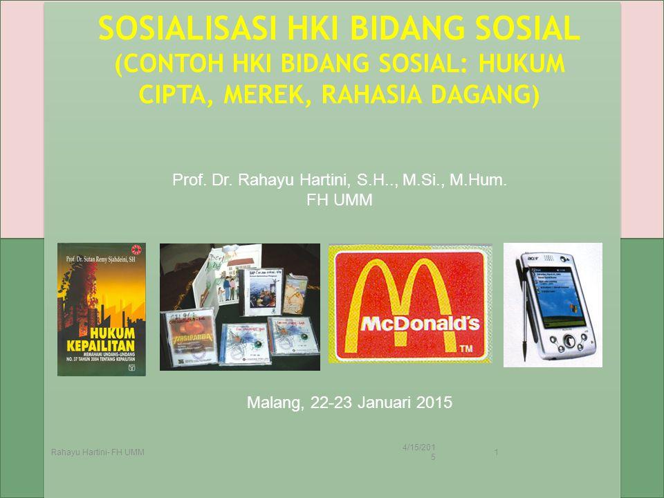 SOSIALISASI HKI BIDANG SOSIAL (CONTOH HKI BIDANG SOSIAL: HUKUM CIPTA, MEREK, RAHASIA DAGANG) 4/15/2015 Rahayu Hartini- FH UMM 1 Prof. Dr. Rahayu Harti