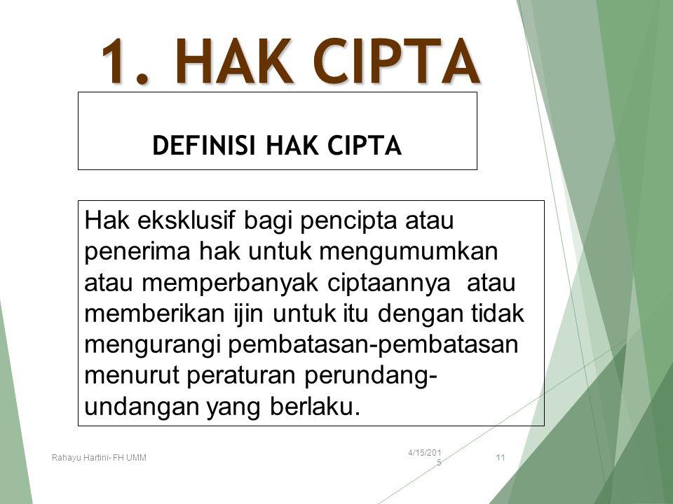 1. HAK CIPTA DEFINISI HAK CIPTA Hak eksklusif bagi pencipta atau penerima hak untuk mengumumkan atau memperbanyak ciptaannya atau memberikan ijin untu